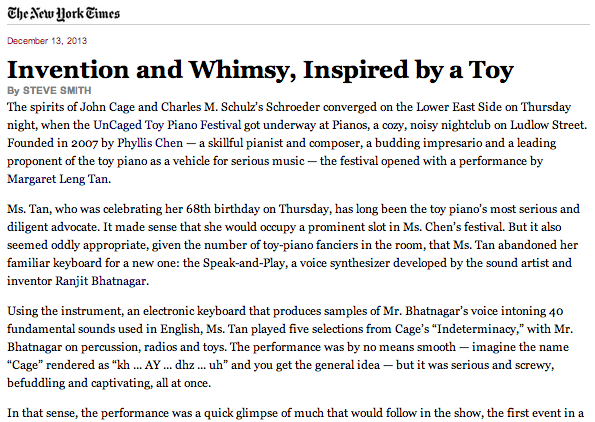 Invention and Whimsy, Inspired by a Toy (NY Times 13 Dec 2013)
